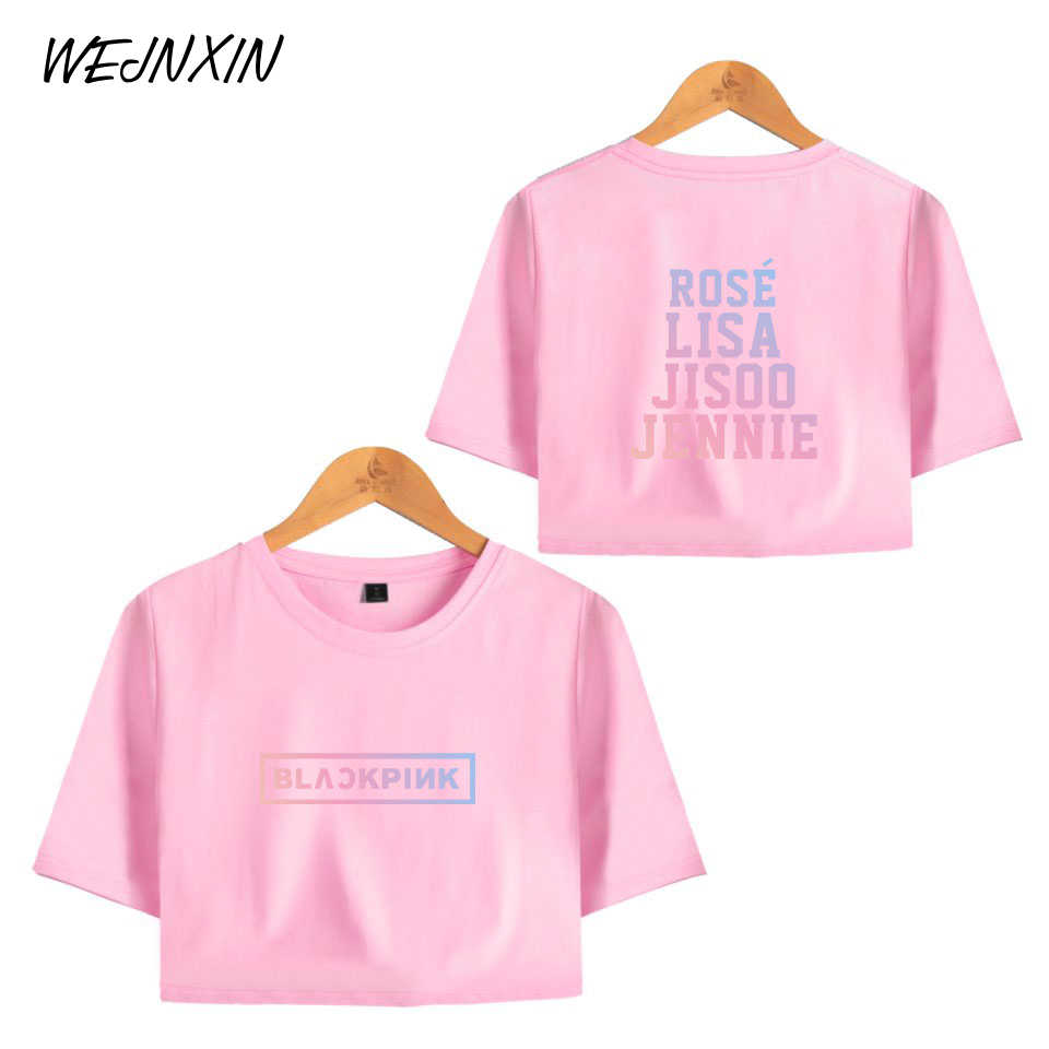 VAGROVSY Kpop Blackpink Sexy Crop Tops Women Cotton Exposed T-shirts Team Member Name Print T Shirt For Women Camiseta Feminino