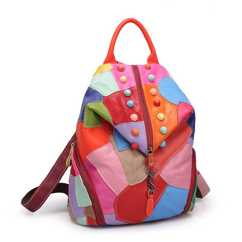 2018 mode sacs à dos en peau de mouton pour les femmes en cuir véritable Double sac à bandoulière couture couleurs sac à dos européen et américain - 2