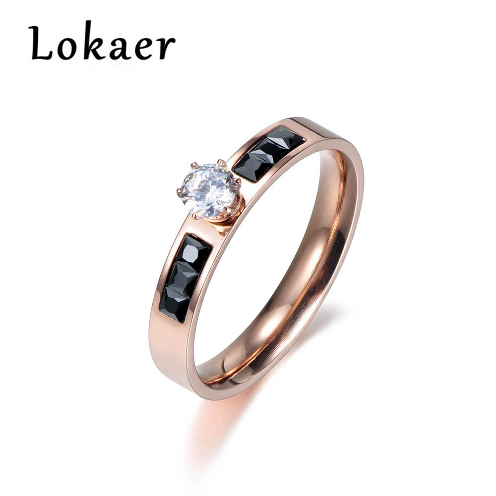 Lokaer Classic Titanium Steel Rings Micro White/Black Rectangle Cubic Zirconia Wedding Engagement Ring For Women R180120266R