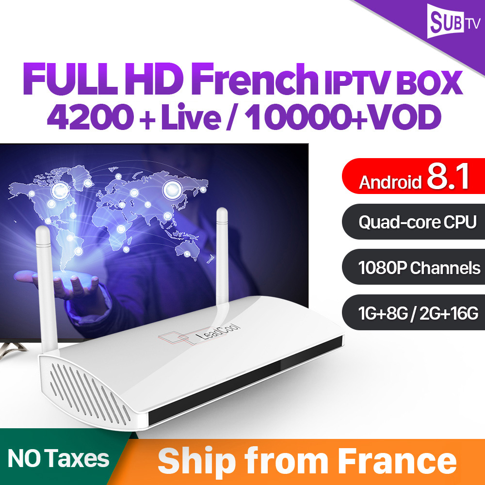 Leadcool SUBTV 4K IPTV France Box Android 7 1 RK3229 with 1 Year IPTV Subscription Arabic