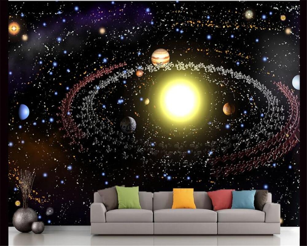 Beibehang Modern Kreatif Estetika 3D Wallpaper Alam Semesta Starry Galaxy Langit langit Dinding Latar Belakang TV