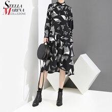 2018 Women Autumn Black Shirt Dress Long Sleeve Geometrical Pattern Printed Female Stylish Elegant Party Dresses Robe Femme 3917