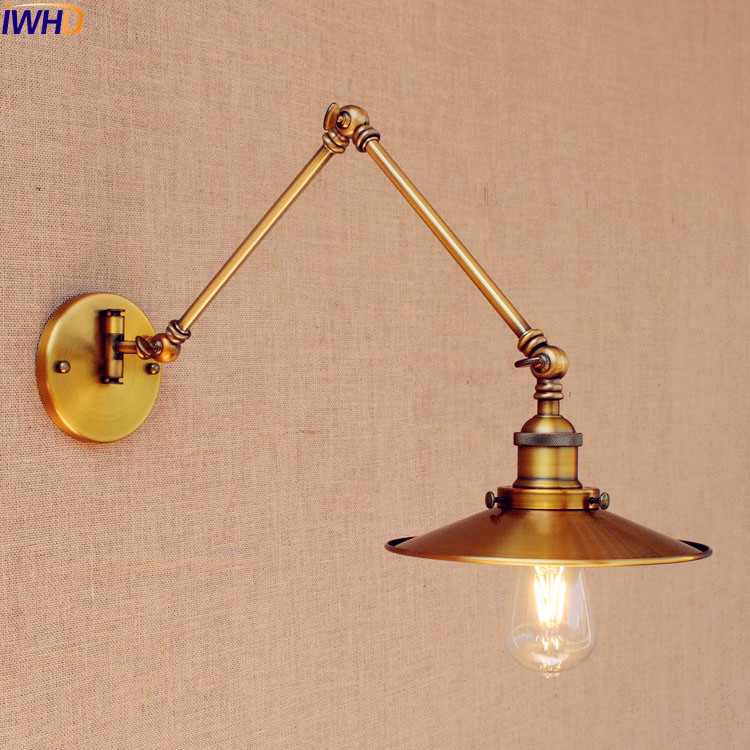 IWHD Gold Copper Antique Vintage Wall Lamp Loft Adjustable Swing Long Arm Wall Light Industrial Edison Sconce Apliques Pared iwhd antique eidson led wall light fixtures wandlamp swing long arm wall lights vintage industrial wall sconce lampara pared