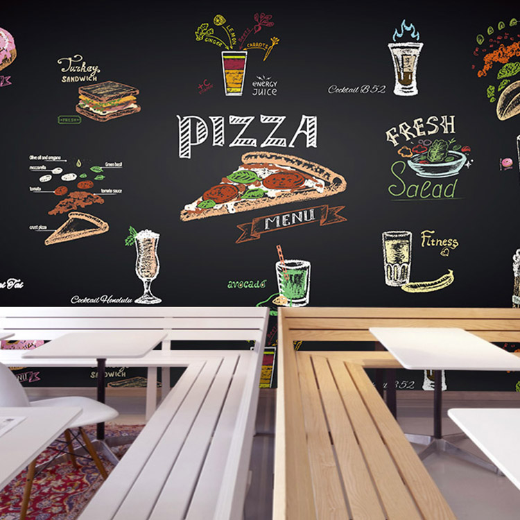 цены Custom 3d Hand painted chalk pizza juice mural custom fast food restaurant colorful blackboard wallpaper