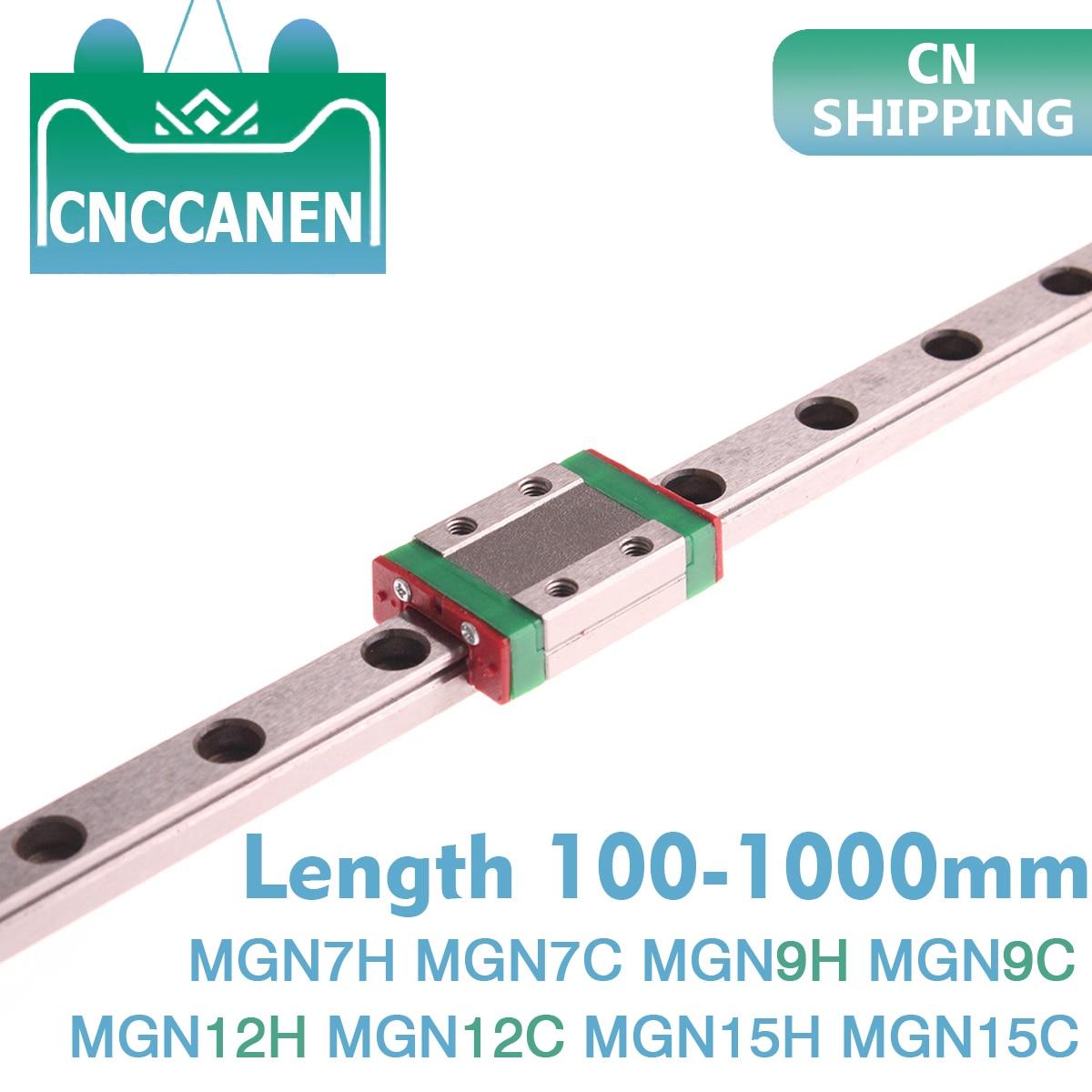 MGN7 MGN9 MGN12 MGN15 100 - 1000mm Miniature Linear Rail Slide 1pc MGN Linear Guide +1pc MGN9H or MGN9C Carriage 3D Printer CNC