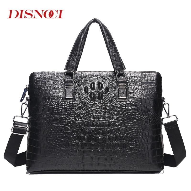 DISNOCI Cowhide Crocodile Pattern Business Men's Handbags Laptop Bag Genuine Leather Men's Briefcase Man Shoulder Messenger Bag