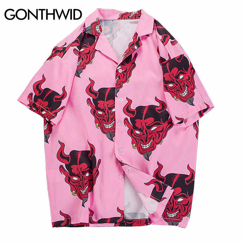 GONTHWID Devil Print Hawaiian Shirts 2019 Men Beach Aloha Party Casual Holiday Short Sleeve Shirt Fashion Hip Hop Streetwear Top