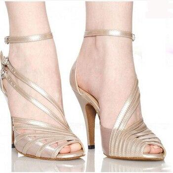 Stylish Soft Sexy comfortable Satin salsa Latin Tango Ballroom dance shoes Plus size 33-42 women dancing shoes High heels 1132 римские сандали