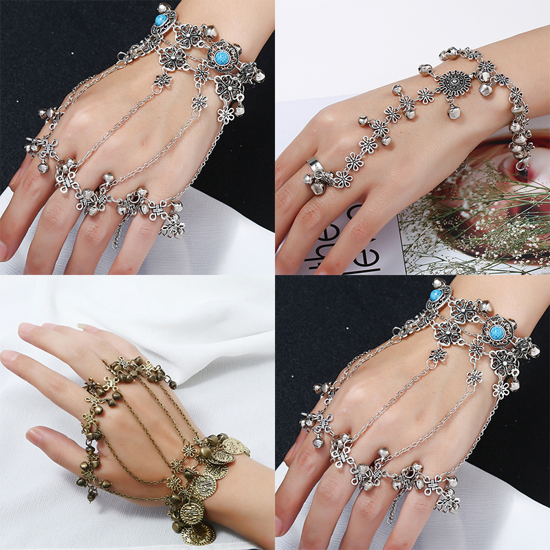 Fashion Back Hand Chain Bracelet For Women Retro Punk Style Bangle Lady Adjustable Link Finger Jewelry