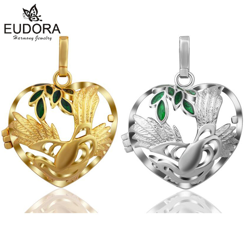 Eudora Harmony Bola Heart Pattern Gold Color Cage Pendant fit Bell Ringing Chime Bell Women Baby Angel Caller Jewelry