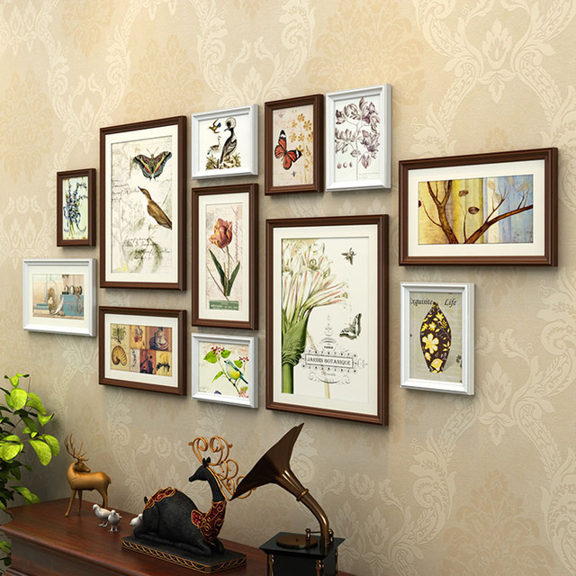 12pcs Pine Wood Photo Frame Combo Wooden Picture Frames Picture Frame Set Home Office Coffee Salon Wall Decorations