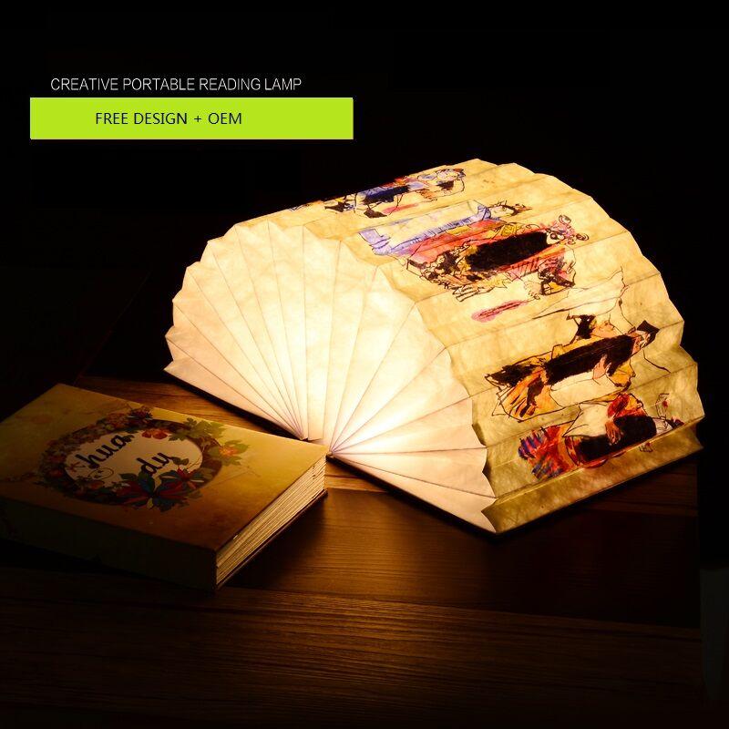 Book light gift wood led folding usb book light gift custom creative home festival gift night light