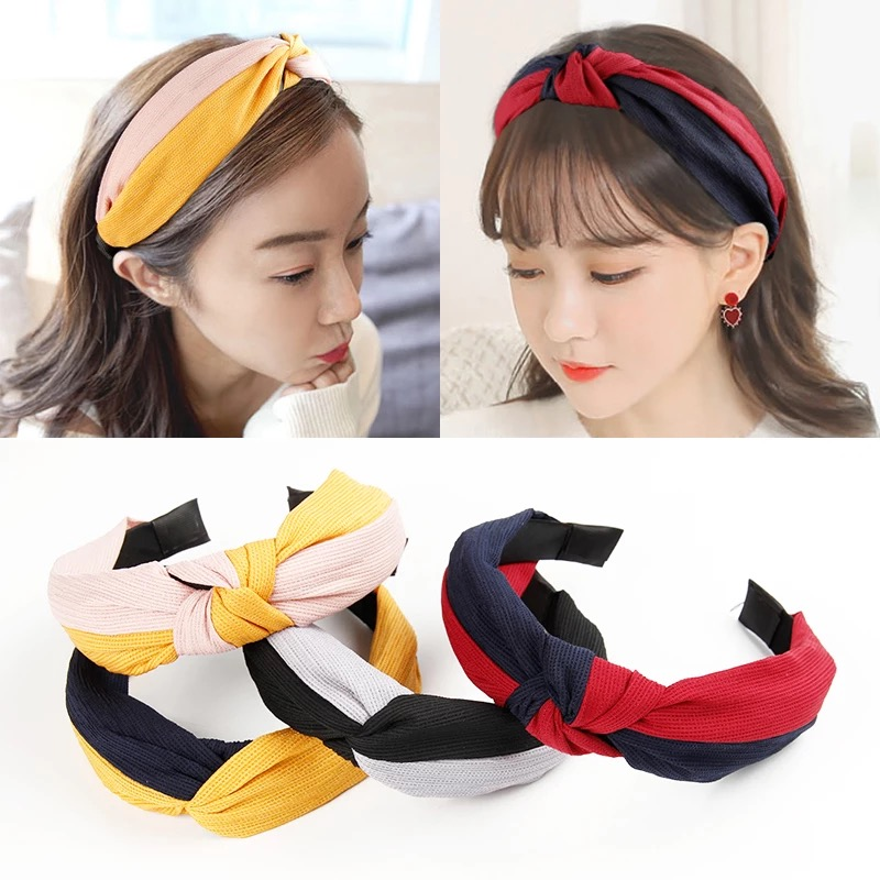 1c1a59a8e60 Detail Feedback Questions about New Fashion Korean Patchwork Fabric  Hairbands Women Sweet Girls Hair Accessories Knot Headband Lady Headwear  Headdress on ...