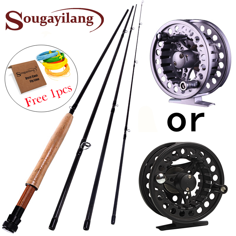 2.7M Fly fishing Rod for 4 Sections Fly Rod Reel line Combo Set 5/6 Super Light Carbon Fishing Pole Bamboo Fish Tackle Pesca