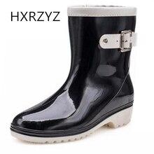 HXRZYZ Женские дождевые сапоги женские пряжки резиновые ботильоны сапоги весна / осень новые модные противоскользящие водонепроницаемые ботинки женщины