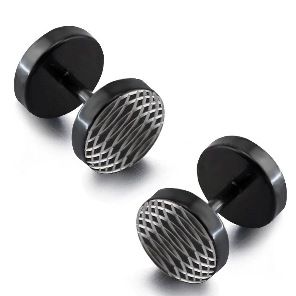 1 Pair 16g Fake Black Plug Earrings Unique Design Fake Plug Hypoallergenic  316l Surgical Steel Faux Plugs Piercing Jewelry