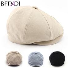 BFDADI 2018 New Solid Color Vintage Beckham Men Women Fashion Octagonal Cap Men Cotton Newsboy Cap Painter Beret Hat Size 57-60