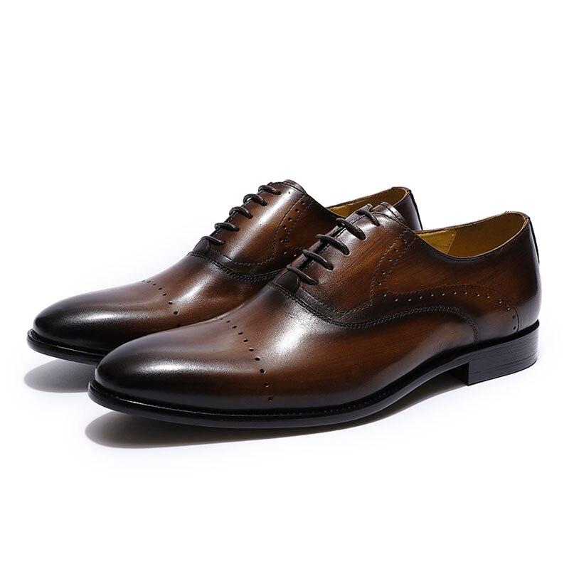 Ayakk.'ten Resmi Ayakkabılar'de Boyutu 39 46 Yüksek Kaliteli Erkek Resmi Ayakkabı Deri Lüks Parti Düğün Erkek Ayakkabı Dantel Kadar Kahverengi Yeşil Oxford ayakkabı Erkekler için'da  Grup 2