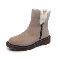 Fashion Autumn Winter Boots Genuine Leather Cow Suede Brand New Women Flat Snow Boots Plush Warm