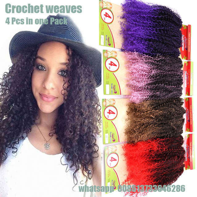 Cheap Synthetic Afro Kinky Curl Weave Ombre Weft Hair 28 Box Braids