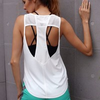 Solid Fitness Tank Tops Women Sleeveless Shirt Sporting Breathable Loose Vest Hollow Out Quick Dry Tops