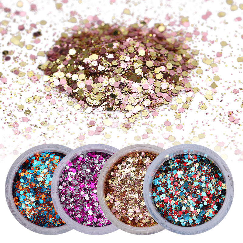 Nail Powder Nail Glitter Sequins Ultra Thin Mixed Size Shining Paillette Flakes 3D Nail Art Decorations Design