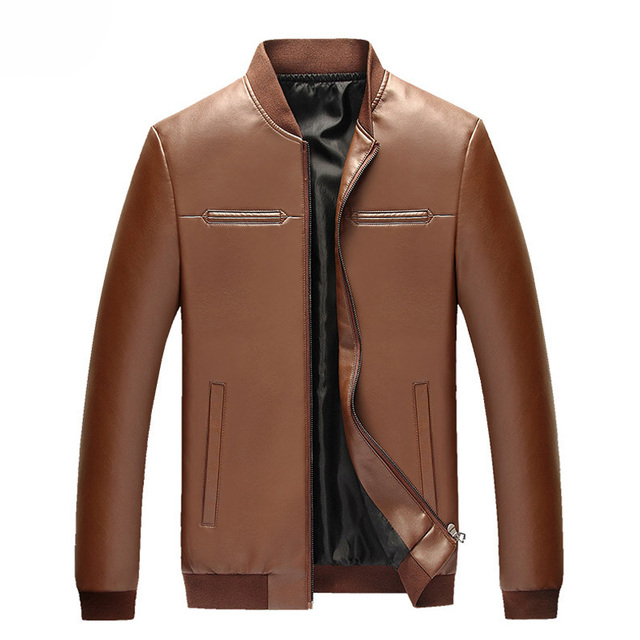 PU Leather Men Fashion Jackets Plus Size M-3XL Autumn & Winter Men's Clothing Windproof Young Man Casual Coats