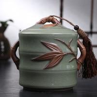 Bamboo Hot Sale Top Grade Crackle Glaze Longquan Celadon Ceramics Capacity Eco Friendly Tea Caddy Tea
