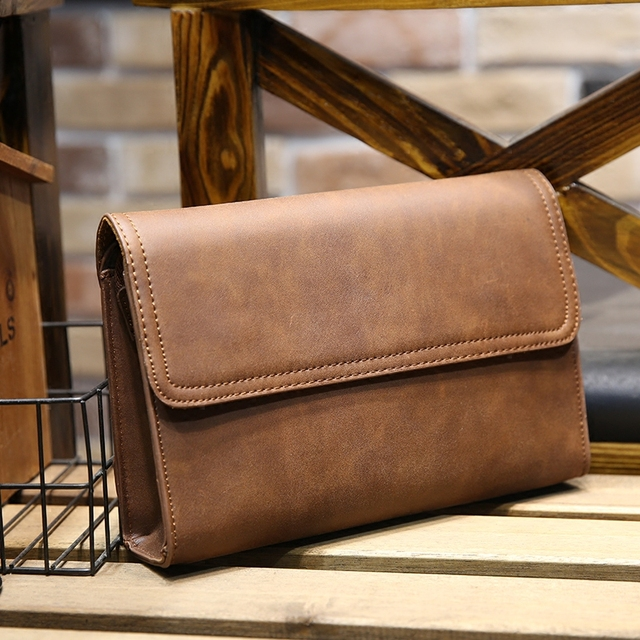 95a7954426ac New brand design men large wallets crazy horse pu leather men s clutch bags  Business man wallet leather with coin zipper pocket