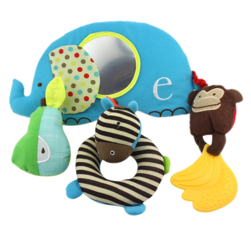 Baby Toys with Distorting Mirror Baby Rattle Bed Hanging Toys Baby Plush Soft Owl Lathe Hanging Bells