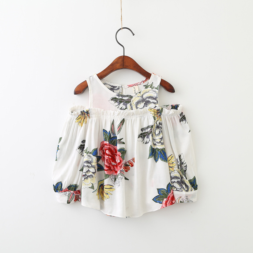 Girls Flower Shirts Baby Clothing Autumn 2017 Kids Girls Fashion Off-shoulder Blouse Babies Printed Jumper tees Kids Clothes