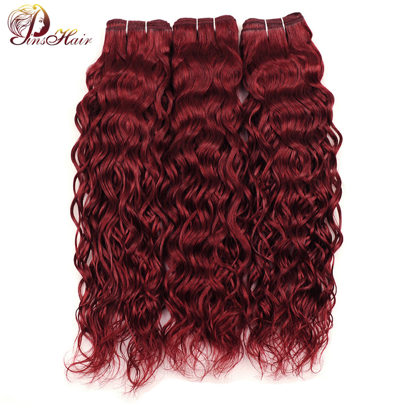 Pinshair Burgundy Bundles Red Peruvian Water Wave Hair 3 Bundles 99J 100% Human Hair Weave Extensions Thick Bundles Nonremy Hair(China)