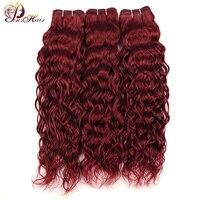 Pinshair бургундские пучки, красная перуанская волна волос, 3 пучка 99J 100% человеческие волосы для наращивания, толстые пучки волос, не Реми