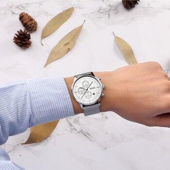 BAOGELA Chronograph czarny nowe zegarki męskie zegarek kwarcowy ze opaska z siatki stalowej Slim mężczyzn złoty zegarek sportowy zegarek uczeń