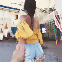 Women Blouses New Fashion Summer Sexy Off Shoulder Tops Blouse Puff Short Sleeve Slash Neck Solid