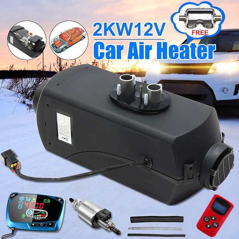 Réchauffeur de voiture 2KW 12V Air Diesels chauffage de stationnement avec télécommande LCD moniteur pour vr, camping-Car remorque, camions, bateaux