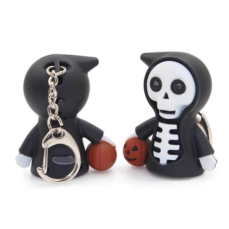 Популярный Креативный светодиодный брелок для ключей на Хэллоуин, маленький автомобильный брелок в форме призрака, отличный подарок для украшения Хэллоуина