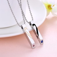 Her King His Queen Puzzle Heart Metal Tag Necklace Set In Stainless Steel Hers And His