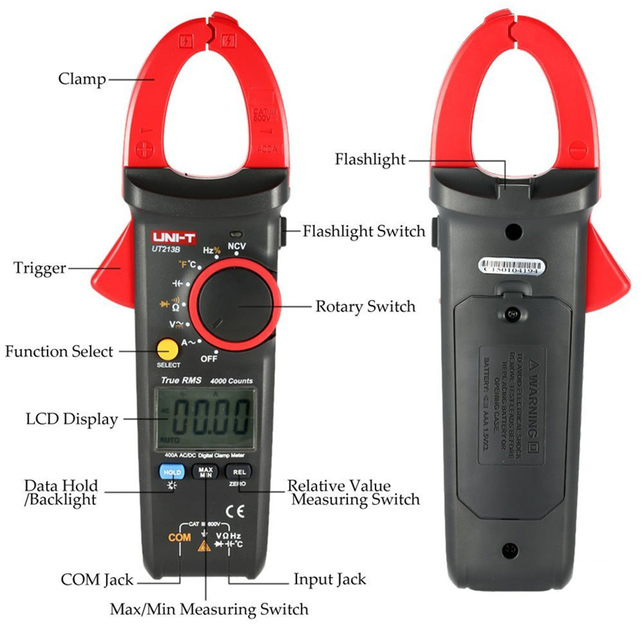 UNI-T UT213B 400A Digital Clamp Meters Voltage Resistance Capacitance Multimeter Temperature Auto Range multimetro Diode trueRMS
