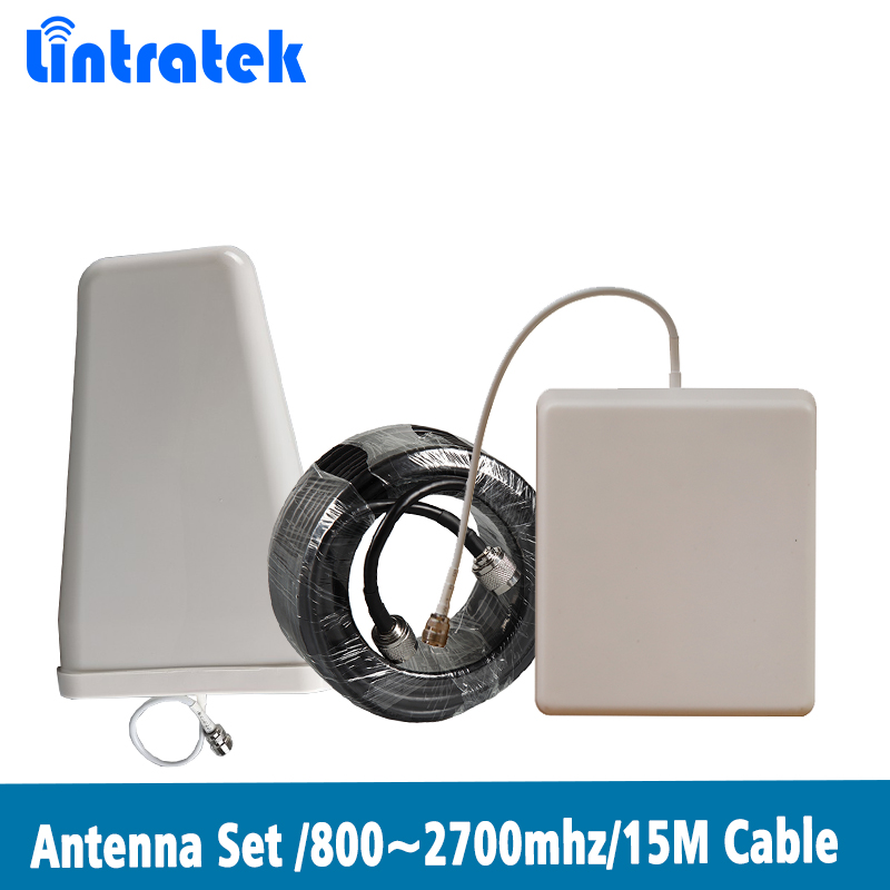 Log-periodic Outdoor Antenna + Panel Indoor Antenna + 15 Meter Cables Accessories For 800~2700MHz Mobile Signal Repeater @8.7