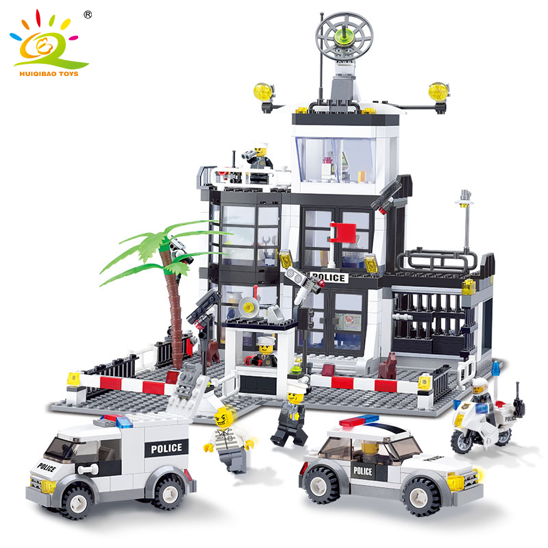 HUIQIBAO TOYS 631Pcs Police Station Prison Track car Building Blocks For Children Compatible Legoed City Brick policeman figures city super police cruiser plane coast guard airplane 3in1 building block thief policeman swat figures compatible withlego toys