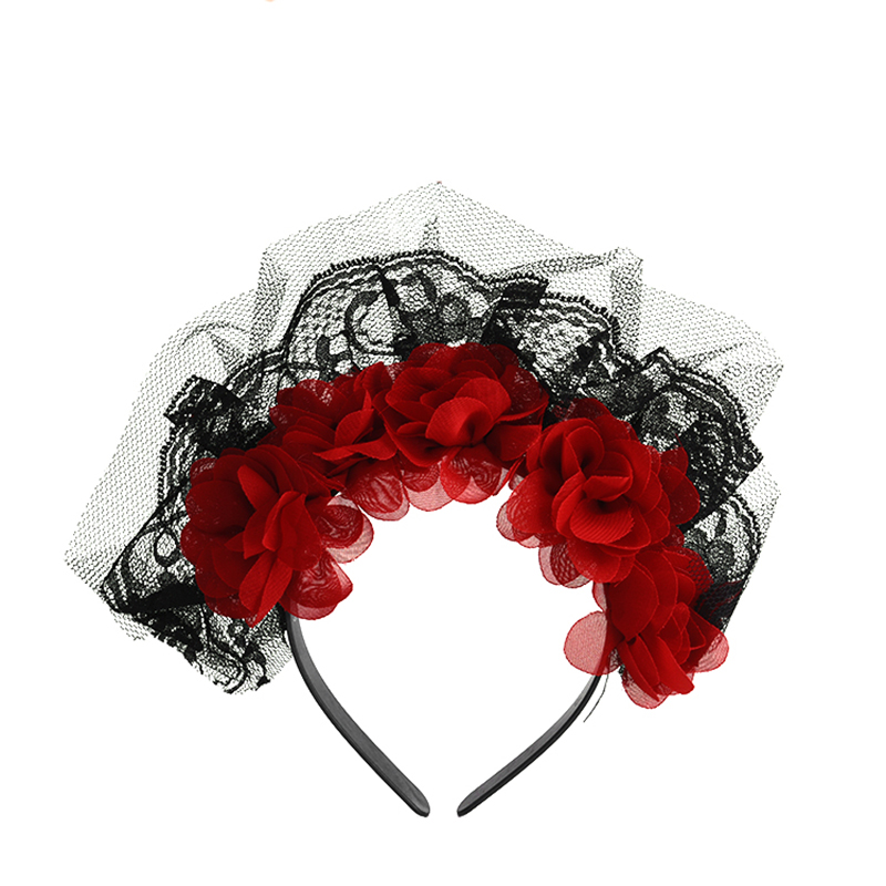 Halloween Day Of The Dead Rose Flower Floral Festival Headband Black Red Color Lace Head Band Women Hair Accessories Girl Women