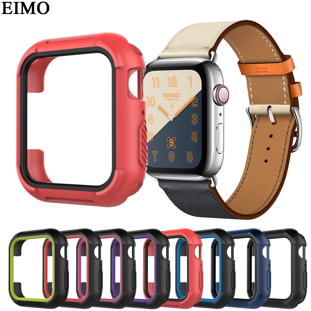 EIMO Protective cases cover For Apple watch 4 Case 44MM 40MM iwatch band 4 Replacement Silicone TPU Protection frame protective tpu bumper frame for iphone 4 4s green