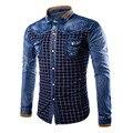 2017 Algodão Slim Fit Marca Casual Denim Grade Camisas da cor de contraste Camisa de Manga Longa Cowboy Masculino Camisa Jeans Masculina