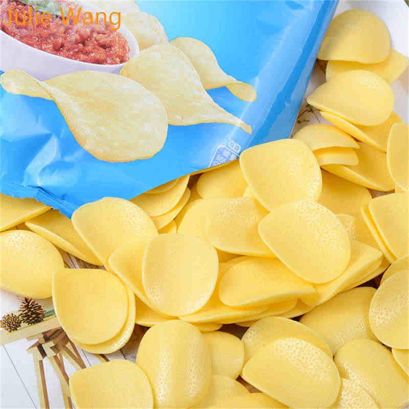 جولي وانغ 10 قطعة الراتنج الاصطناعي الغذاء رقائق البطاطس سحر الوحل المعلقات صنع المجوهرات التبعي المنزل ديكور للطاولات الدعائم