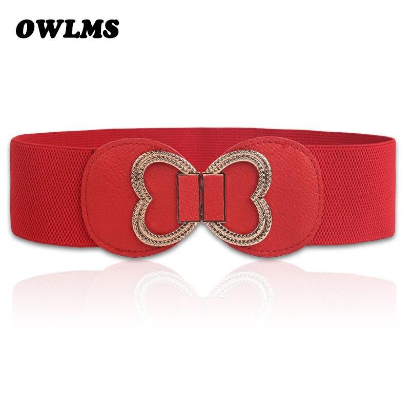 New Arrival Elastic Cummerbund Fashion Gold Love Metal Wide Stretch Cummerbunds For Women Cintos Cinturon Luxury Women's Belt