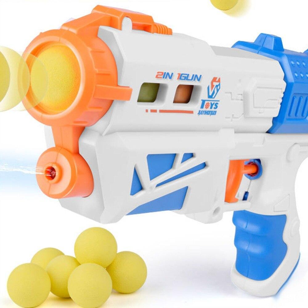 Children's Soft Foam Shooting Ball Toy 2 In 1 Plastic Safe Launcher Toy Children Outdoor Shot Gun Toy