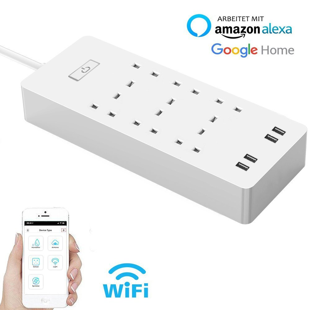 WiFi Smart Power Strip,Surge Protector Multi-Socket with 6 Sockets 4 USB Port,Alexa/Smart Home Control Switch Timer,APP Remote
