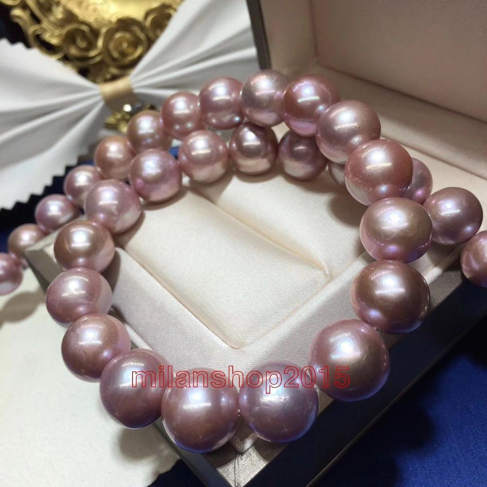 HUGE ROUND 1713-11mm Natural real south sea purples pearl necklace 14KHUGE ROUND 1713-11mm Natural real south sea purples pearl necklace 14K