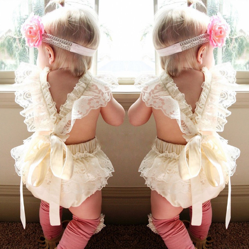 2018 beige Baby Girl Lace Flower romper Sleeveless Jumpsuit Newborn Summer baby girls Clothes Outfit toddler girls summer cloth
